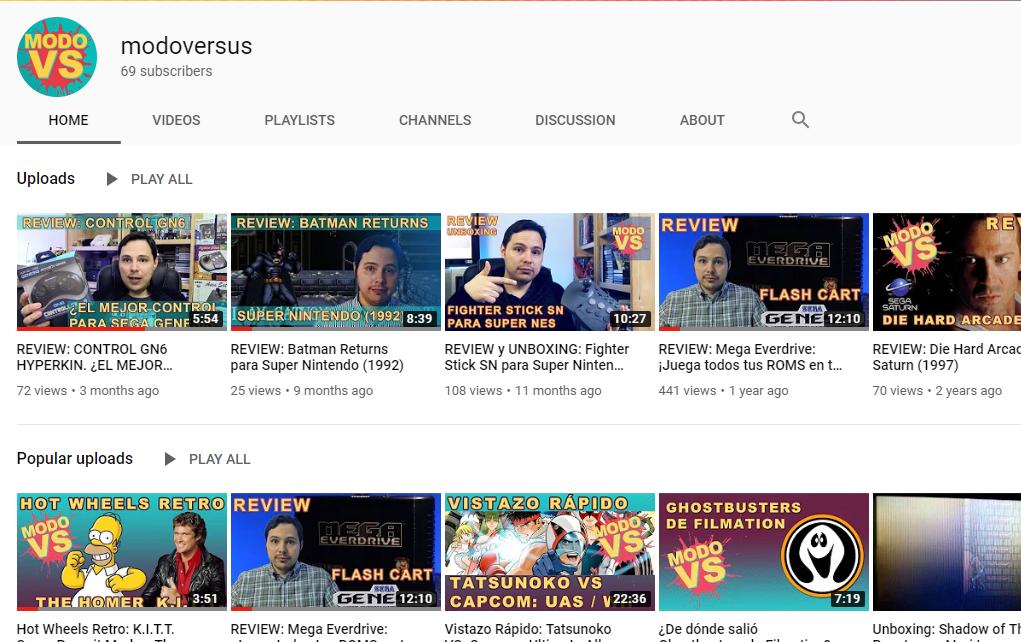 Nuevo contenido en el canal de Youtube.